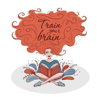 Livro de leitura da mulher com cabelo no ar