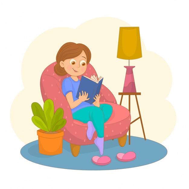 Livro de leitura da mulher na cadeira em casa