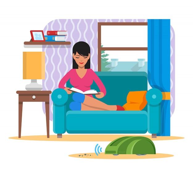 Livro de leitura da mulher no sofá enquanto o robô doméstico do aspirador de pó limpa uma sala. ilustração de conceito de tecnologia de robótica