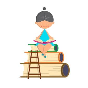 Livro de leitura de cabelo escuro da menina bonito no fundo isolado. ilustração vetorial no cartoon