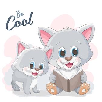 Livro de leitura de gato bonito dos desenhos animados