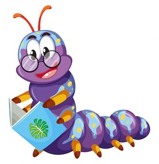 Livro de leitura de lagarta roxa