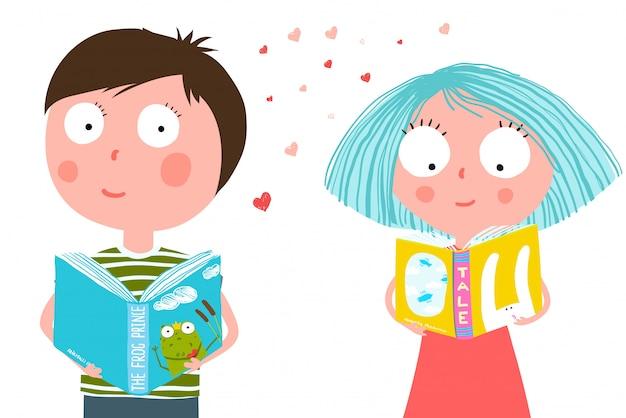 Livro de leitura de menino e menina Vetor Premium