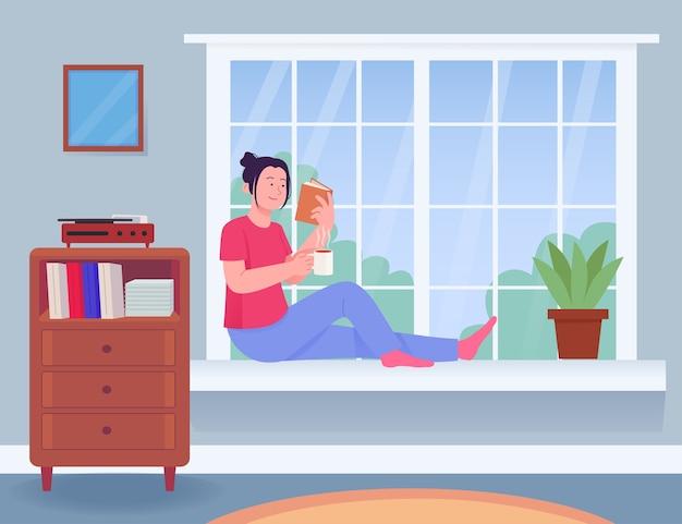 Livro de leitura de mulher jovem na janela bebendo chá café