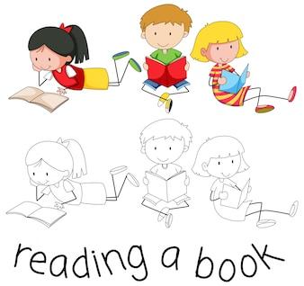Livro de leitura de personagem de estudante