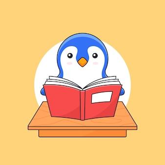 Livro de leitura de pinguins na mesa da sala de aula para mascote de ilustração de contorno de atividade animal