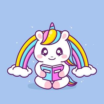 Livro de leitura de unicórnio feliz fofo com arco-íris