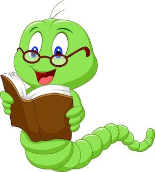 Livro de leitura de verme dos desenhos animados