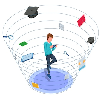 Livro de leitura do aluno. macho anti-gravidade em torno de ferramentas escolares. ilustração isométrica de volta à escola. vetor