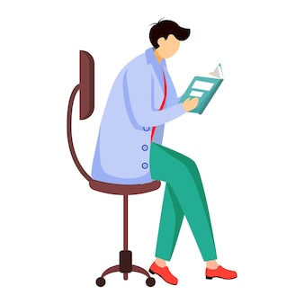 Livro de leitura do cientista, ilustração plana do jornal. o médico se senta na cadeira. obtendo, analisando informações. homem com jaleco azul isolado personagem de desenho animado em fundo branco