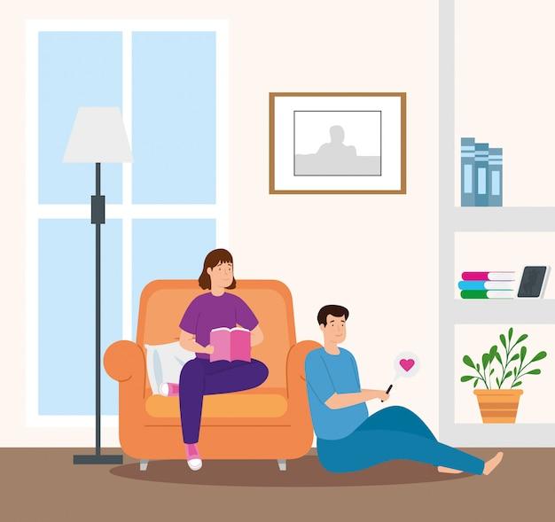 Livro de leitura do jovem casal na sala de visitas