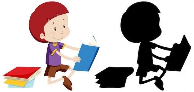 Livro de leitura do menino com sua silhueta