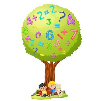 Livro de leitura do menino sob o número da árvore