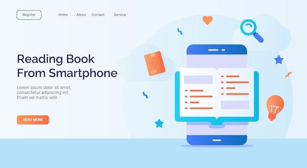 Livro de leitura do smartphone para o modelo de página de aterrissagem de página inicial de site web campanha com design de estilo plano moderno de cor cheia.