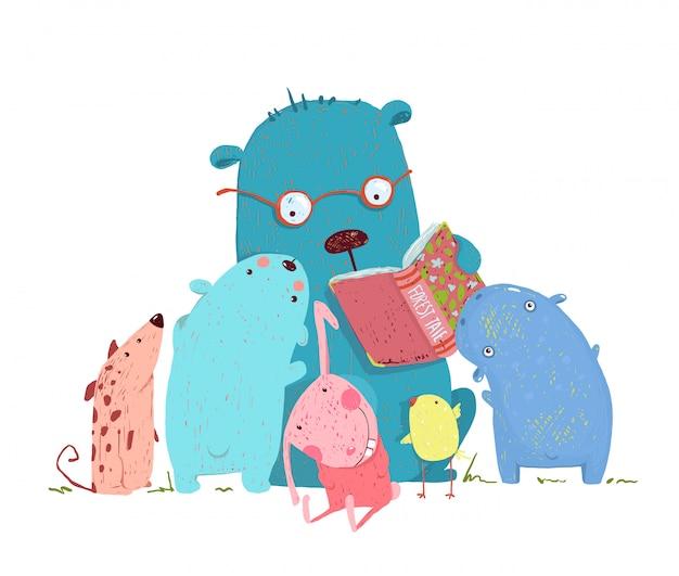 Livro de leitura do urso para o grupo de crianças animais