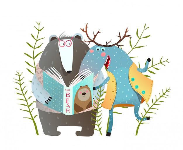 Livro de leitura moose and bear. amigos de animais engraçados da floresta com o livro. ilustração.