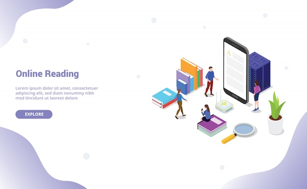 Livro de leitura on-line ou digital com as pessoas a ler no smartphone para o modelo de site ou página inicial de destino