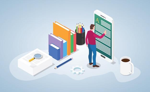 Livro de leitura on-line ou digital com pessoas ler no estilo isométrica de aplicativos de smartphone