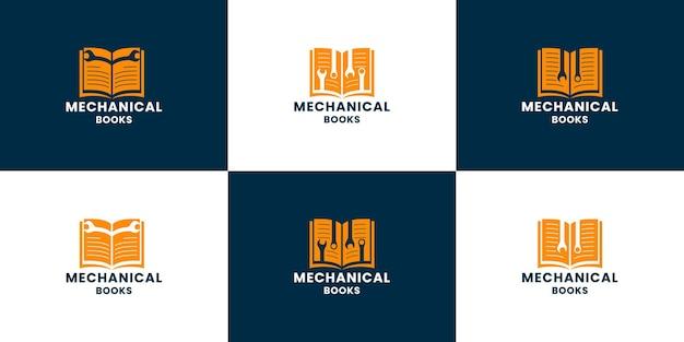 Livro de mecânica de pacote. vetor de design de logotipo de livro de ferramentas faz-tudo