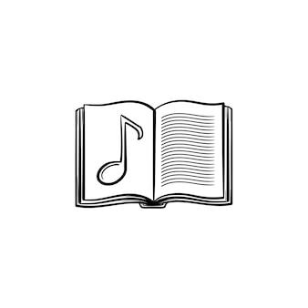 Livro de música com ícone de doodle de contorno desenhado de mão de nota. livro de música escolar aberto com ilustração de desenho vetorial nota musical para impressão, web, mobile e infográficos isolados no fundo branco.