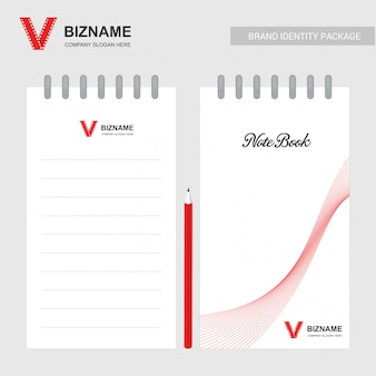 Livro de nota de projeto da empresa com tema vermelho com logotipo de vídeo