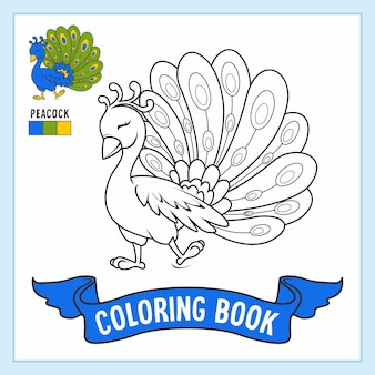 Livro de páginas para colorir de animais de pavão