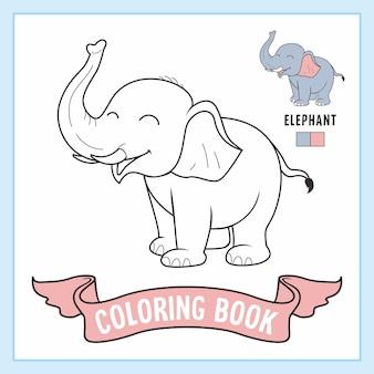 Livro de páginas para colorir de elefantes