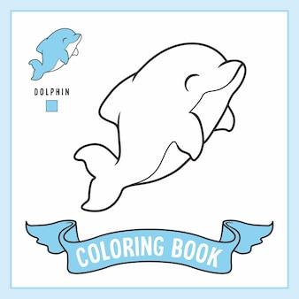 Livro de páginas para colorir de golfinhos