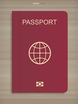 Livro de passaporte em fundo de textura de madeira