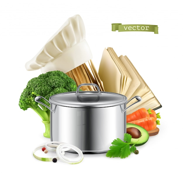 Livro de receitas, culinária. ilustração 3d realista de comida