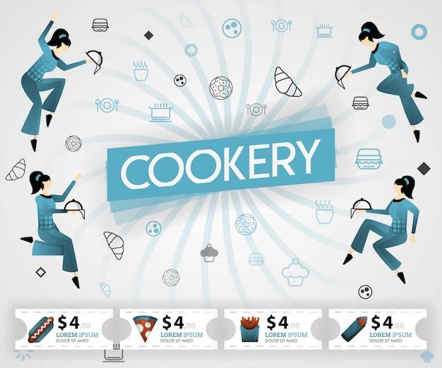 Livro de receitas de culinária azul e receitas