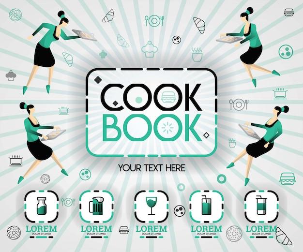 Livro de receitas em produto de ícone verde e bebida