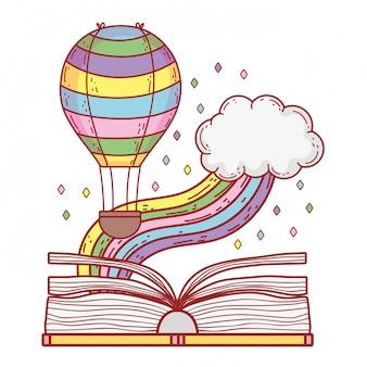 Livro de texto com arco-íris e balão de hélio