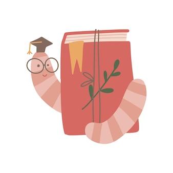 Livro decorado e leitor ávido engraçado em ilustração vetorial desenhada à mão plana com boné de formatura pequeno
