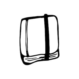 Livro desenhado a mão única doodle ilustração vetorial em estilo escandinavo fofo