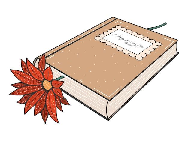 Livro desenhado de mão com flor. ilustração vetorial. isolado no branco. tatuagem, arte de linha, colorida.