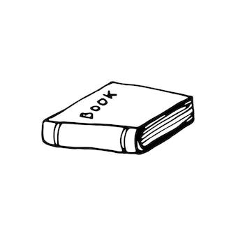 Livro desenhado de uma mão. ilustração em vetor doodle em estilo escandinavo fofo. elemento para cartões, cartazes, adesivos e design sazonal. isolado em fundo branco