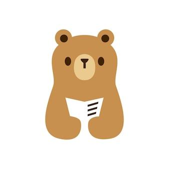 Livro do bebê do filhote de urso lendo jornal espaço negativo logo ilustração vetorial ícone