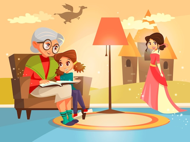 Livro do conto de fadas da leitura da avó ao miúdo da menina que senta-se na poltrona.