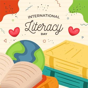 Livro do dia internacional da alfabetização e terra