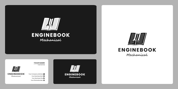 Livro do engenheiro, design do logotipo do livro manual para mecânico e oficina