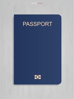 Livro do passaporte em fundo de textura de concreto. ilustração vetorial.