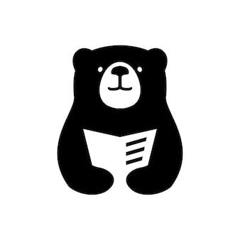 Livro do urso ler jornal ilustração de ícone de vetor de logotipo de espaço negativo