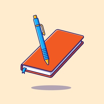 Livro e caneta dos desenhos animados ícone ilustração. conceito de ícone de objeto de educação isolado. estilo flat cartoon