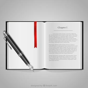 Livro e caneta-tinteiro