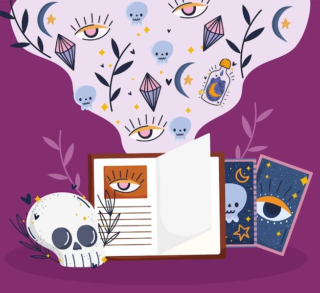 Livro e cartas mágicas do crânio