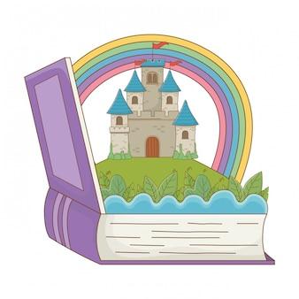 Livro e castelo de ilustração em vetor design de conto de fadas