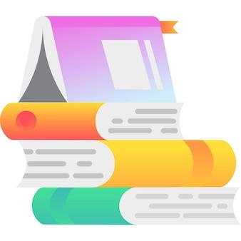 Livro e documento de papel de vetor de ícone de pilha