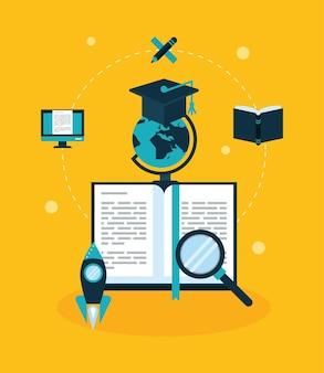 Livro e educação conjunto de ícones