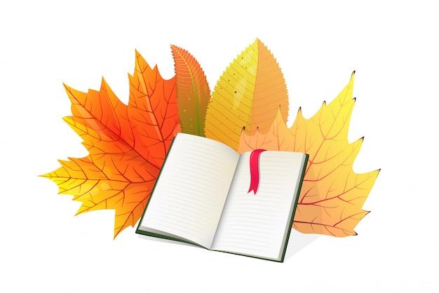 Livro e folhas de outono ilustração plana